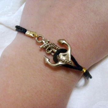 Antiqued Gold Anchor wrap bracelet - dainty rope leather strap bracelet with anchor charm and clasp