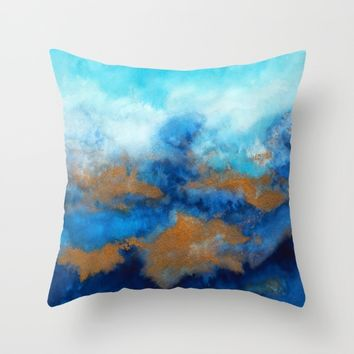 Ocean vibes 01 Throw Pillow by ViviGonzalezArt