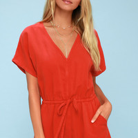 Magdalena Red Short Sleeve Romper