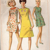 Retro Mod Go Go Dress Simplicity 60s Sewing pattern Beach Cover Up Shorts Peek-a-Boo Cutout Neckline Side Slits Bust 31