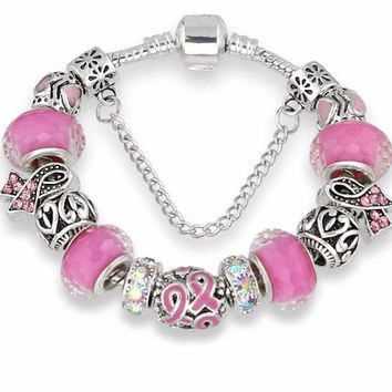 New Breast Cancer Awareness Pink Ribbon Charms Bracelet