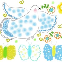 Blue Peace Dove with flowers by Orte Ruiz Designs on Crated