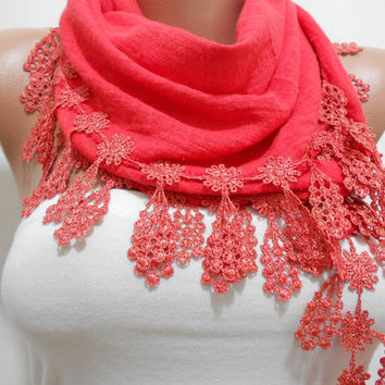 Coral Fashion Scarf Shawl, Red Cowl Scarf with Lace Edge, Vermilion Shawl Scarf, Gift For Mom For Her, Mothers Day Scarf Gift, ScarfClub