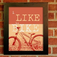 11x14 Mounted I Like to Bike Print by EeeBee on Etsy