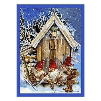 Elves Gnomes Skiing Jenny Nystrom Holiday Christmas Counted Cross Stitch Pattern