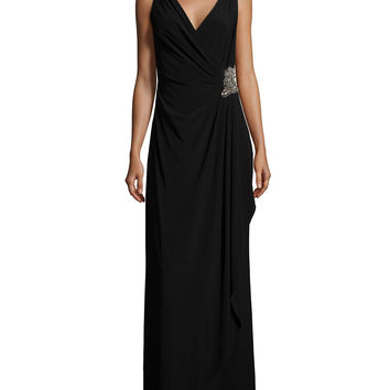 Sleeveless Faux-Wrap Draped Dress W/ Beaded Side, Size: