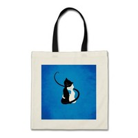 Blue Cute White And Black Cats In Love Budget Tote Bag
