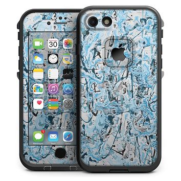 Abstract Wet Paint Teal - iPhone 7 LifeProof Fre Case Skin Kit