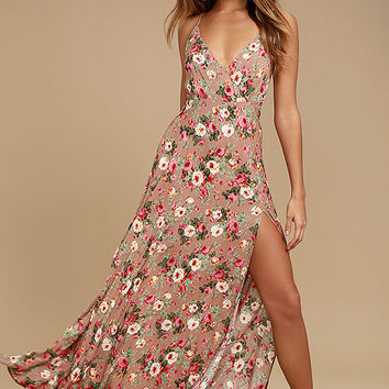 Everlasting Bliss Blush Floral Print Maxi Dress