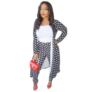 2 Two Piece Set Women Clothes Polka Dot Cardigan Long Coat Tops+Bodycon Pants Sweat Suit Casual Outfits Matching Sets Tracksuit