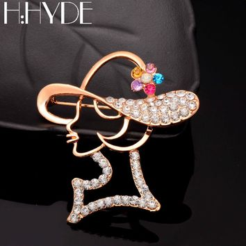 H:HYDE Crystal Golden Hollow Girl Shaped Brooches For Women Femme Scarf Clip Pins Cool Weeding Fine Broches Clothes Pendant