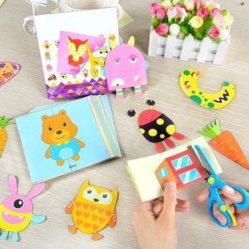 100pcs DIY Child Handmade Toys Paper Cutting Confetti Fun Educational Toys Kindergarten Teaching Supplies with Scissors