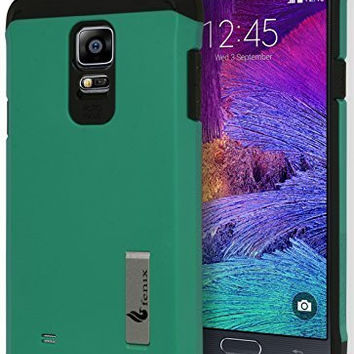 Samsung Galaxy Note 4, Hybrid Durable Teal and Black Kickstand Case Cover
