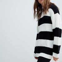 Bershka Stripe Longline Knitted Sweater at asos.com