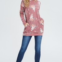 SALE Cow skull Ash Burgundy Top