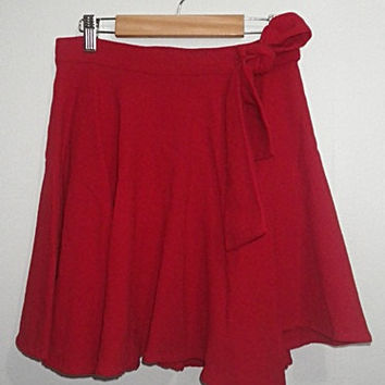 vintage Versus Gianni Donatella Versace Made in Italy red wrap around mini skirt (1990s)