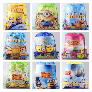 10pcs/lot of Carton non-woven fabrics of Me2 minion, drawstring backpack, event & party gift bag, shopping bag non-woven fabric