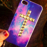 iPhone 5 5S Studded Blue Sky Space Galaxy Nebula Print Gold Cross Phone Case
