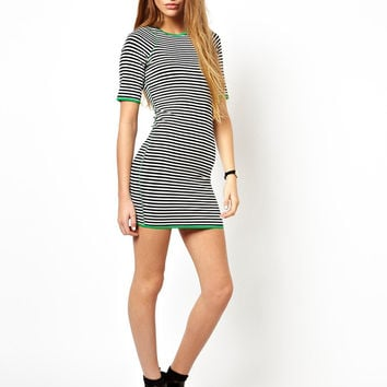 Stripe Sleeve Bodycon Dress