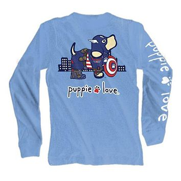 Long Sleeve Superhero Pup Tee in Carolina Blue by Puppie Love