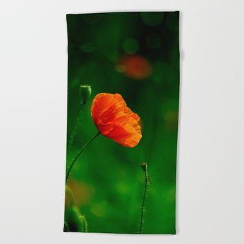 Scarlet Poppy Beach Towel by Cinema4design