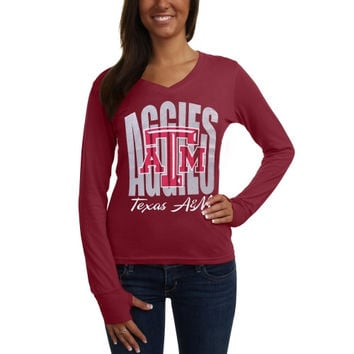 Texas A&M Aggies Ladies Andromeda Long Sleeve V-Neck T-Shirt - Maroon