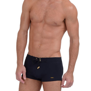 MEN'S GOLD Cabo Square-Cut Swim Trunk : MEN'S Designer Swim Trunks | 2(X)IST