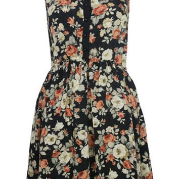 Floral Mesh Panel Button Up Skater Dress