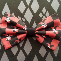 Harley Quinn Inspired Hair Bow or Bow Tie