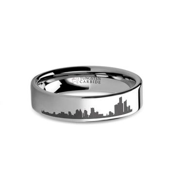 Detroit City Skyline Cityscape Laser Engraved Tungsten Ring