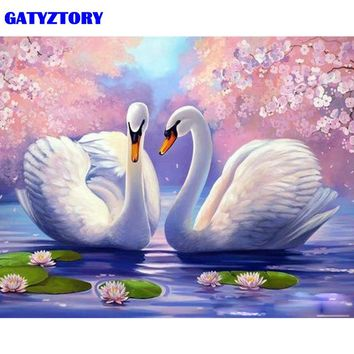 GATYZTORY Frame Swan Animals DIY Painting By Numbers Modern Calligraphy Painting Home Decoration Unique Gift Wall Art Picture