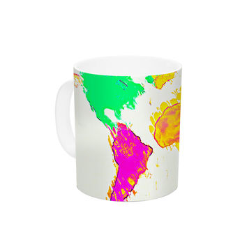 "Oriana Cordero ""My World"" Rainbow Map Ceramic Coffee Mug"
