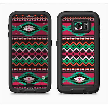 The Vector Green & Pink Aztec Pattern Full Body Samsung Galaxy S6 LifeProof Fre Case Skin Kit