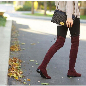 Stretch Suede Over the Knee Boots Flat
