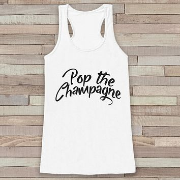 New Years Tank - Champagne Drinking Tank - Womens Razorback - New Years Tank -  White Tank - White Tank Top - Funny New Years - Workout Top