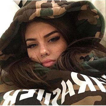DCCK8H2 THRASHER flame men and women long sleeve sets loose fleece hoodies Camouflage