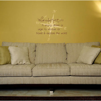 Wanderlust Definition Under And Overlay vinyl wall decal