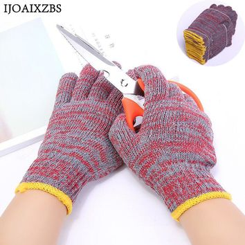 12 Pairs Labor Protection Safety Glove Winter Wear-Resistant Anti Slip Thicker Machine Hands Work Gloves  Garden Cotton Gloves