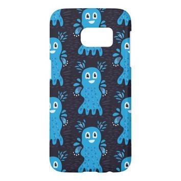 Undiscovered Blue Happy Sea Creatures Pattern Samsung Galaxy S7 Case