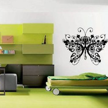 Flowered Butterfly Tattoo Modern House Bedroom Decor Sticker decal Ar1287