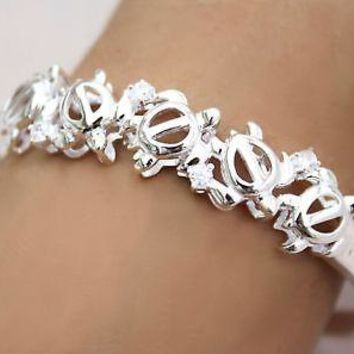 SILVER 925 SHINY HAWAIIAN HONU TURTLE BANGLE BRACELET