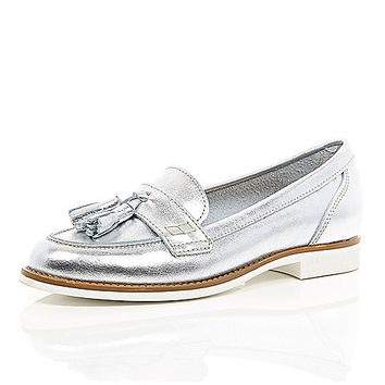 River Island Womens Silver leather tassel loafers