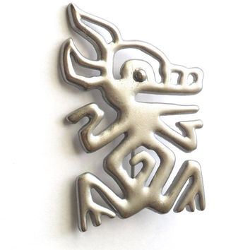 Vintage Pig JJ Signed Brooch Boar Hog Frog Southwestern Aztec Native Kuchi Tribal Animal Jonette Jewelry Marked 1988 Silver Tone