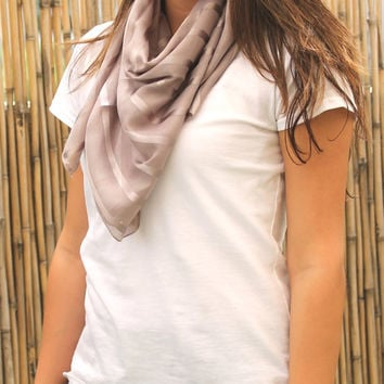 Gray Scarf, Scarves, Woman Scarf, Cotton Scarf, Women Accessories, Trendy Scarf, Women's Fashion Accessory, Square Scarf