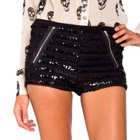 Sequined Zipper Pocket Shorts - 2020AVE