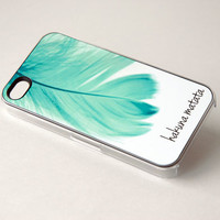 Mint Blue Feather Phone Case + Inspirational Quote Hakuna Matata + iPhone 4, 4s, 5, 5s, 5c, 6, 6+ Case
