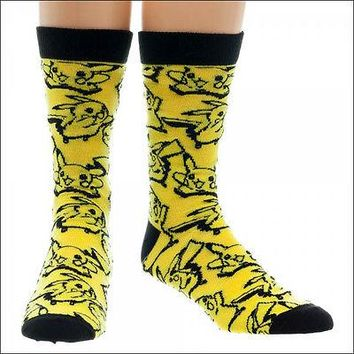 Nintendo Pokemon Pikachu Costume Cosplay Toss Print Crew Socks Yellow LICENSED