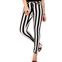 Black/White Vertical Stripe Jeans
