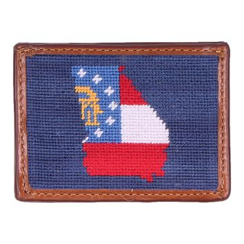 Custom Georgia State Flag Needlepoint Credit Card Wallet in Navy by Smathers & Branson