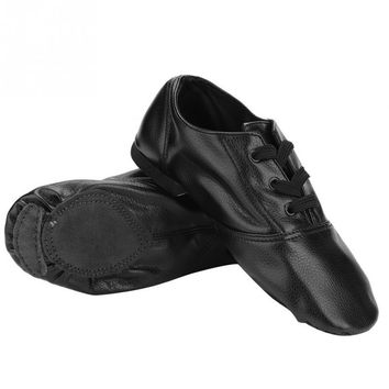 Adult Kids PU Soft Bottom Jazz Dance Shoes Black Low Cut Shoes Children Skidproof Dance Shoes Dancewear Size 28 to 45
